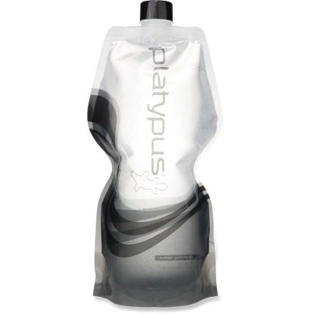 Camp and Hike The Platypus SoftBottle water bottle is lightweight, flexible and durable. It can be stored in spaces that won't fit rigid water bottles, making it a great choice for travel. Compact design can be flattened when empty and rolled up to fit practically anywhere in your pack. Food-grade polyethylene lining ensures bottle won't retain flavors or taste like plastic; plus, it's 100% BPA free. The Platypus SoftBottle water bottle includes a screw-on closure cap. Closeout. - $5.93
