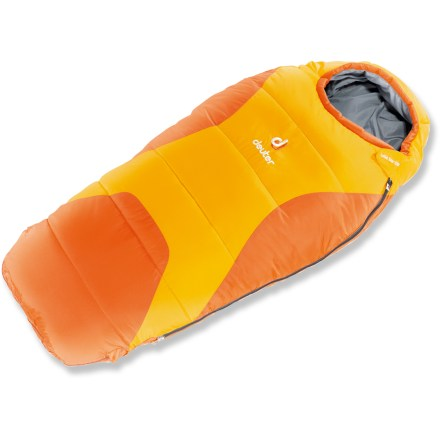 Camp and Hike Get your little one out camping with the Deuter Little Star EXP +40 sleeping bag. The extendable design allows the sleeping bag to grow with your child. Extendable foot bag changes the length of the sleeping bag from 3 ft. to just over 4 ft. 3 in. Polyester synthetic insulation will keep your child warm down to about 40degF, and it continues to insulate even if wet. Soft, breathable nylon taffeta shell fabric stands up to regular use and dries fast when damp. Full-length draft tube keeps heat in and the cold out. Snag-free zipper tracks prevent the dreaded stuck zipper by creating a barrier between the lining and the zipper. Deuter Little Star EXP +40 sleeping bag comes with a stuff sack. Special buy. - $56.73