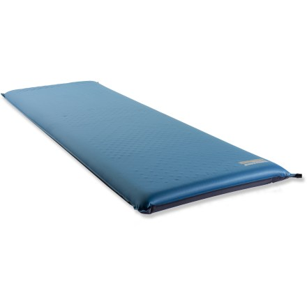 Camp and Hike The regular-size Therm-a-Rest LuxuryMap(TM) self-inflating sleeping pad fits most adults and features variable densities of die-cut foam for support and warmth where it's needed most. This series is created for campers whose greatest interest is sleeping comfort; perfect for car campers, family campers and base campers. 3 in. thickness offers excellent warmth and support; foam padding is die-cut in high-pressure areas (such as hips) to decrease the density, providing relief at pressure points. In low-pressure areas (such as knees) full-density foam provides increased cushioning, support and warmth. R-value equals 6.8; most sleeping pads we sell range in R-value from 1.0 (minimally insulated) to 9.5 (well insulated). Stretch-knit polyester fabric offers comfort; durable non-slip textured polyester bottom keeps pad in place. Regular Therm-a-Rest LuxuryMap(TM) comes with its own nylon stuff sack. Closeout. - $72.93