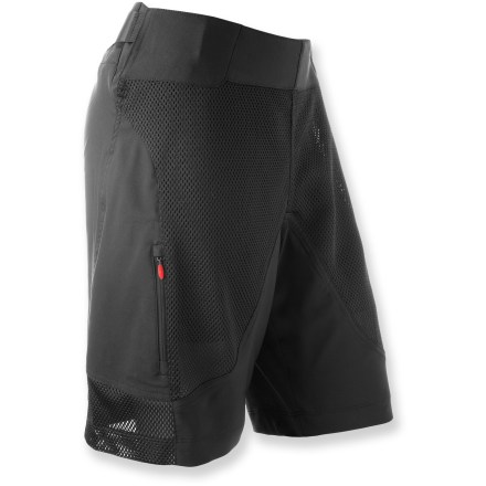 Fitness When rough-and-tumble terrain is in your future, the Pearl Izumi Veer bike shorts have your back with tough, durable fabric and a flexible fit that can handle all the bumps along the way. Stretch polyester wicks moisture away from skin and dries quickly, keeping you comfortable while you ride; front and side polyester mesh panels increase ventilation. Detachable interior liner also enhances moisture management and provides light cushioning thanks to a women-specific MTB 3D chamois(R). Zippered front pockets double as vents and secure small essentials. Veer shorts provide integrated UPF 50+ sun protection for continuous protection against harmful ultraviolet rays. Wide, flattering waistband lies flat against skin with easy side adjustment for a perfect fit. Closeout. - $69.73