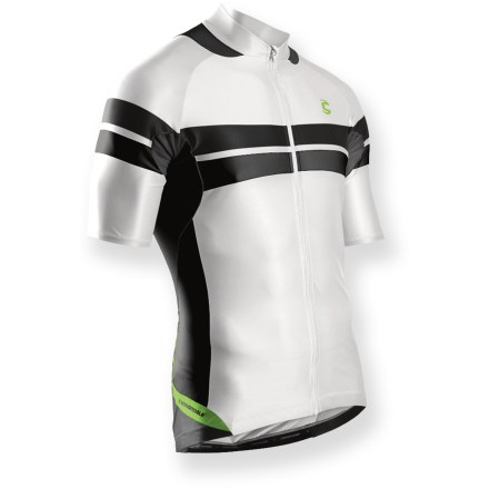 Fitness The formfitting cut and moisture wicking fabric of the Cannondale L.E. men's bike jersey keeps you cool and comfortable on race day. Breathable polyester/spandex jersey fabric has a soft feel, and it wicks away moisture and dries quickly to keep you comfortable. Fabric provides UPF 40+ sun protection, shielding skin from harmful ultraviolet rays. Full-length front zipper controls ventilation and allows easy on/off. 3 rear pockets and an easy access zip pocket store a few biking essentials and snacks. Reflective accents enhance visibility in low light. Contoured to the body for enhanced aerodynamics, fitted cut offers freedom of movement without compromising technical performance. Closeout. - $23.73