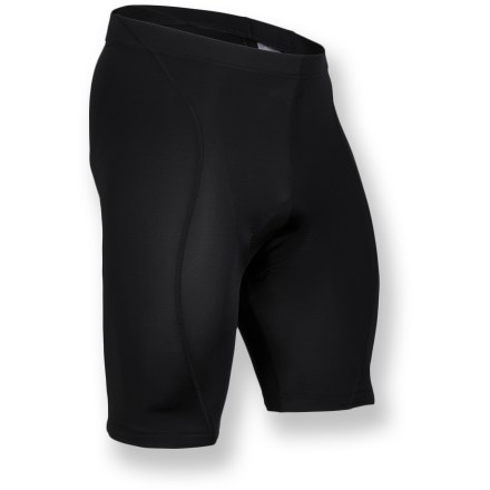 Fitness A great choice for daily commuting, the men's Cannondale Classic bike shorts provide support for hardworking muscles and comfort in the saddle. Nylon/spandex fabric blend offers stretch and a compressive fit; soft matte, moisture-wicking fabric keeps you comfortable and dry. Seamless 6-panel construction contours to the body, eliminating wind drag; 4-way stretch side panels mold to body and eliminate binding and bunching. Multidensity, 1-piece chamois eliminates seams to reduce chafing; anatomically positioned chamois padding reduces pressure points and wicks moisture away from skin. Elastic leg grippers keep the shorts in place. Rear envelope-style pocket stores keys, cash or energy gel. Features reflective Cannondale logo and accents strategically placed for increased visibility. Closeout. - $19.73