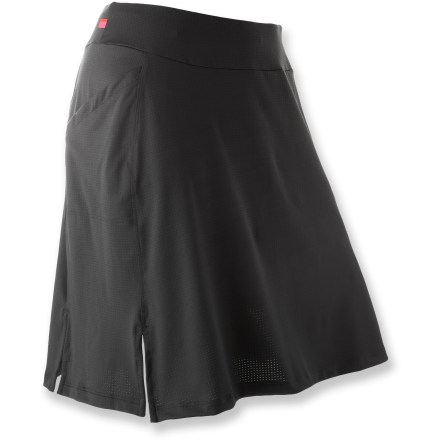 Fitness The Terry Flare Skort in plus sizes blends the performance of bike shorts with coverage and flirty looks of a skirt. Stretch polyester outer skirt has attached nylon mesh and spandex liner shorts with wide elastic leg bands to keep them in place. Flex chamois offers seamless comfort and 4-way stretch for ease of movement. The Terry Flare Skort in plus sizes is designed with side pockets, a wide comfort waistband and small front slits to keep the skirt out of the way as you pedal. - $64.93