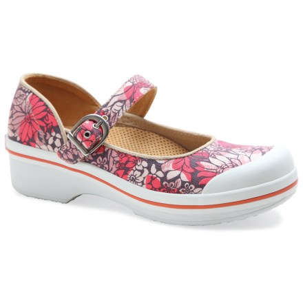 Offering superior comfort and colorful style, the Dansko Valerie Canvas shoes deliver a modern twist on the traditional Mary Jane look. Cotton canvas uppers are soft and breathable for everyday wear. Anatomically contoured, molded rubber/EVA footbeds provide extra cushioning and support underfoot; plus, they're removable to accomodate custom insoles. Recycled polyurethane foam inserts in the forefoot offer extra shock absorption. Thermoplastic urethane boards offer support through the heel and arch for long periods of time spent on your feet. Dansko Valerie Canvas shoes proudly carry the Seal of Acceptance from the American Podiatric Medical Association. Slip-resistant rubber outsoles. All-synthetic construction makes these vegan-friendly. Closeout. - $28.73