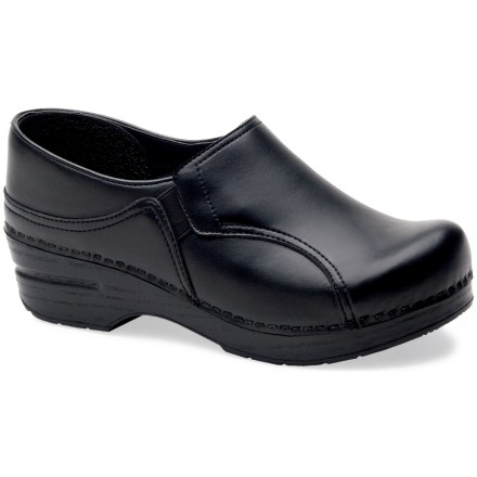 Designed for high insteps, the women's Dansko Phoebe Stapled leather clogs offer enhanced support through the midsole for total comfort during long days on your feet. Breathable, full-grain leather uppers are oiled for water resistance and durability; leather uppers are stapled to the bases for a durable, secure fit. Antimicrobial leather linings help deter odor development. Sturdy polyurethane toe boxes protect feet from bumps and enhance durability without compromising toe space. Contoured midsoles offer firm arch support and superior shock absorption for long-lasting support. Rocker-bottom outsoles provide superior slip resistance and support the heel-to-toe transition for all-day wear and comfort. Dansko Professional Oiled clogs carry the Seal of Acceptance from the American Podiatric Medical Association. A good Dansko fit should allow heels to move up and down freely, with ample wiggling room in the front for toes. Closeout. - $82.73