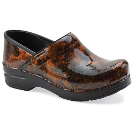 The women's Dansko Professional patent leather clogs provide superior support for dawn-to-dusk, on-your-feet comfort with a classy sense of style. Durable patent leather uppers offer water-resistance; leather uppers are stapled to the bases for a durable, secure fit. Antimicrobial leather linings help deter odor development. Sturdy polyurethane toe boxes protect feet from bumps and enhance durability without compromising toe space. Contoured midsoles offer firm arch support and superior shock absorption for long-lasting support. Rocker-bottom outsoles provide superior slip resistance and support heel-to-toe transition for all-day wear and comfort. Dansko Professional patent leather clogs carry the Seal of Acceptance from the American Podiatric Medical Association. A good Dansko fit should allow heels to move up and down freely, with ample wiggling room in the front for toes. Closeout. - $53.73