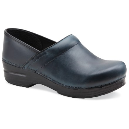 The classic women's Dansko Professional Oiled full-grain leather clogs offer durable water- and slip-resistance plus supportive comfort that keeps your feet happy all day long. Breathable, full-grain leather uppers are oiled for water resistance and durability; leather uppers are stapled to the bases for a durable, secure fit. Antimicrobial leather linings help deter odor development. Sturdy polyurethane toe boxes protect feet from bumps and enhance durability without compromising toe space. Contoured midsoles offer firm arch support and superior shock absorption for long-lasting, on-your-feet support. Rocker-bottom outsoles provide superior slip resistance and support heel-to-toe transition for all-day wear and comfort. Dansko Professional Oiled clogs carry the Seal of Acceptance from the American Podiatric Medical Association. A good Dansko fit should allow heels to move up and down freely, with ample wiggling room in the front for toes. Closeout. - $82.73