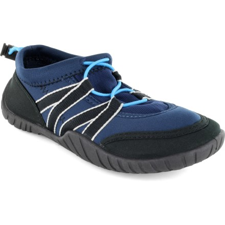 The boys' Rafters Cabo water shoes give little feet traction and protection at the beach, the pool or the puddles in between. Neoprene uppers feature mesh paneling and synthetic webbing for a supportive, breathable fit. Quick-pull laces let him easily snug down the fit. EVA footbeds/midsoles absorb shock, cushion feet and provide gentle support. Textured rubber outsoles supply traction on all types of surfaces. Special buy. - $6.73