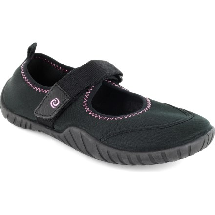 Entertainment The Rafters Santa Cruz girls' water shoes give little feet traction and protection at the beach, the pool or the puddles in between. Neoprene uppers feature synthetic webbing for a supportive, breathable fit. Rip-and-stick strap secures over instep; heel tabs help her pull shoes on and off. EVA footbeds feel soft against bare feet. Textured rubber outsoles supply traction on all types of surfaces. Special buy. - $6.73