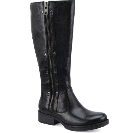 "Bring bold, edgy style to any occasion with your new Born Kenin boots. They feature great-looking, full-grain leather uppers complemented with metal studs and a 1.5 in. heel. Full-grain leather uppers feature full-length zippers for easy on/off; handsewn Opanka construction supplies flexibility and comfort. Linings use a mix of suede leather down the shaft with a latex and polyester ""sock"" at the bottom to ensure in-boot comfort. Durable rubber midsoles deliver cushioning; lightweight steel shanks supply support for all-day wear. Rubber outsoles on the Born Kenin boots provide traction for your adventures around town. Closeout. - $89.73"