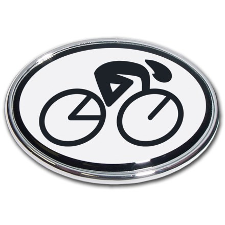 Entertainment Revel in your 2-wheeled pride with the Elektroplate Cycling oval chrome auto emblem. Chrome-plated metal frame is made to stand up to harsh outdoor conditions; decal is laminated in thick, chip-resistant PVC that won't fade or bleed. Paint-safe 3M(R) adhesive foam tape attaches the Elektroplate Cycling oval chrome auto emblem securely to smooth, hard surfaces. - $5.83