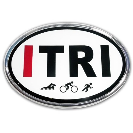 Entertainment Show the world your triathlete colors with the Elektroplate Mountain ITRI oval chrome auto emblem. Chrome-plated metal frame is made to stand up to harsh outdoor conditions; decal is laminated in thick, chip-resistant PVC that won't fade or bleed. Paint-safe 3M(R) adhesive foam tape attaches the Elektroplate ITRI oval chrome auto emblem securely to smooth, hard surfaces. - $5.83