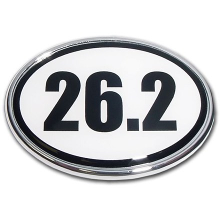 Fitness Show your pride for running and your passion for going the full 26.2 with the Elektroplate Marathon oval chrome auto emblem. Chrome-plated metal frame is made to stand up to harsh outdoor conditions; decal is laminated in thick, chip-resistant PVC that won't fade or bleed. Paint-safe 3M(R) adhesive foam tape attaches the Elektroplate Marathon oval chrome auto emblem securely to smooth, hard surfaces. - $5.83