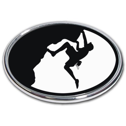 Climbing Showcase your passion for climbing with the Elektroplate Mountain Climber oval chrome auto emblem. Chrome-plated metal frame is made to stand up to harsh outdoor conditions; decal is laminated in thick, chip-resistant PVC that won't fade or bleed. Paint-safe 3M(R) adhesive foam tape attaches the Elektroplate Mountain Climber oval chrome auto emblem securely to smooth, hard surfaces. - $5.83