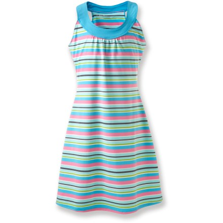 Entertainment The Gracie by Soybu Sophia dress is a fun and colorful dress she'll love wearing. Soft stretch fabric moves with her when she's busy playing. Soybu is known for its quality women's performance apparel, now available for the younger set. - $29.93