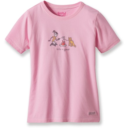 "Camp and Hike The Life is good(R) Jackie Camp Crusher T-shirt is a fun T-shirt she'll love to wear. Cotton is naturally soft, breathable and comfortable. ""Crushing"" process yields extra loft in fabric and doubles the softness. - $11.93"