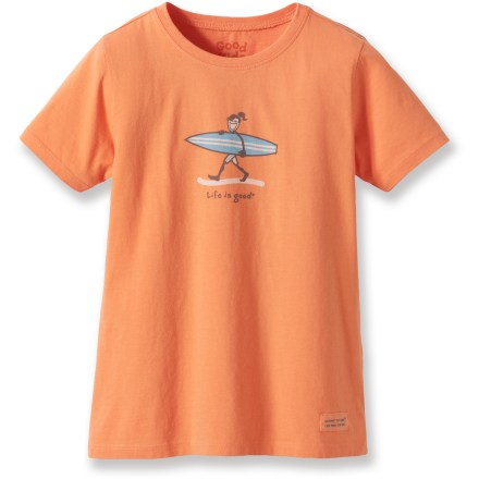 "Surf Surf's up! The Life is good(R) Jackie Surfing T-shirt is an oh-so-soft tee she'll love to wear. Cotton is naturally soft, breathable and comfortable. ""Crushing"" process yields extra loft in fabric and doubles the softness. - $11.93"