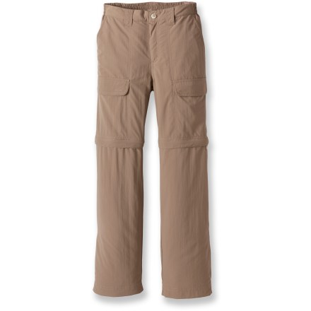 Pack the White Sierra Trail convertible pants for all your kid's summer trips. Lightweight and quick-drying fabric also offers protection from the sun. Woven nylon is lightweight, durable and quick-drying, and offers UPF 30 sun protection. Zip off the legs to instantly convert to 8 in. shorts. Pants feature a functional zip fly, elastic waistband and belt loops. Leg cuffs have rip-and-stick adjustments. White SierraTrail convertible pants have hand pockets, 2 large cargo pockets and a rear pocket with rip-and-stick closure. Special buy. - $19.73