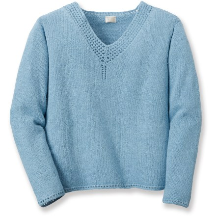 Entertainment Tune up your summer wardrobe with the jersey-knit Alps Morningside Vee sweater. Silk and cotton blend is soft and comfortable. Neckline is accented with rows of crochet. Closeout. - $18.73
