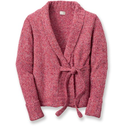 Entertainment The Alps Alissa cardigan sweater keeps you warm while giving your look a refreshing splash of color. Acrylic and polyester are blended together to give the sweater a soft, smooth feel. Front tie is positioned off to the side. Closeout. - $23.73