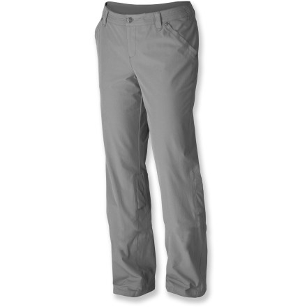 Camp and Hike Featuring lightweight fabric that is stretchy, quick drying, and wrinkle resistant, the Isis Walkabout pants for women have the active traveler in mind. Lightweight, durable nylon is blended with spandex for ample stretch, wrinkle resistance and shape retention. Twin hand pockets, hidden security zip pocket and a coin pocket allow you to stash small and important travel essentials; side leg pocket is sized for your passport. Waistband features internal adjustment tabs so you can personalize the fit. Pant legs roll up to capri length; secure with loop and a snap tab. Fabric provides UPF 50+ sun protection, shielding skin from harmful ultraviolet rays. Closeout. - $58.73