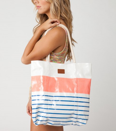 "Surf O'Neill Beach Girl Tote.  Coated cotton canvas printed beach tote; poplin lining; interior zip coin pocket; magentic snap closure; natural rope handle encased through front and back of bag; debossed faux leather logo patch.16""H x 13""W x 4""D - $18.99"
