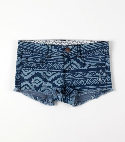 "Surf O'Neill Girls Nate Shorts.  100% Cotton denim.   Allover discharge print; 1.5"" Inseam; five pocket styling; front zipper  closure; logo embroidery. - $19.99"