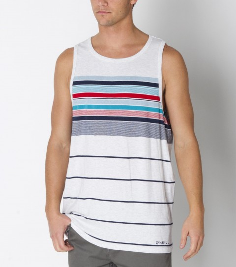 Surf O'Neill Holy Diver Tank made from 100% cotton  jersey engineered stripe tank with heavy enzyme/silicone softener wash. Standard fit; with logo embroideries and labels. - $19.99