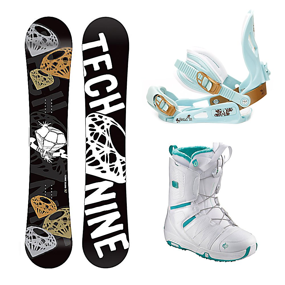 Snowboard Tech Nine Diamond Black SLNC II Pearl Womens Complete Snowboard Package - The Technine Diamond Black snowboard is an all-mountain directional freestyle that gives the up-and-coming rider the upper hand. A stable shape and soft flex gives you lightning edge-to-edge power for linking turns and the full wood core makes the Diamond lightweight and easy to ride. From a day of riding chairs with your friends to a mellow afternoon hike, the Diamond Black will shine in any situation. The SNLC III is a great beginner binding for someone looking to do some all-mountain riding. This binding features aluminum heel cups and plastic anatomical base plates. The SNLC III comes with a standard 2x4 hole base plate disc and is compatible with most boards. The Salomon Pearl Snowboard Boots offer effortless progression, unmatched convenience and a mellow flex. Salomon Speed Powerlace is always refining, improving and just got easier and more durable with a totally redesigned locking mechanism. The Feel Good Liner is cushy and secure and was inspired by Salomon's top-end liners. As a result the Feel Good has incredible comfort. Autofit Foam constructed with flat and full-length high-density memory foam, located in the sensitive areas of the foot. The Pearl also has a cushion bamboo footbed which is not only comfy but the bamboo fiber cloth has natural antibacterial action. Any mountain, anywhere - the Pearl from Salomon. . Recommended Use: All-Mountain Freestyle, Snowboard Rocker Profile: Camber, Package Type: Board, Boots, and Bindings, Product ID: 294944, Gender: Wome - $269.99