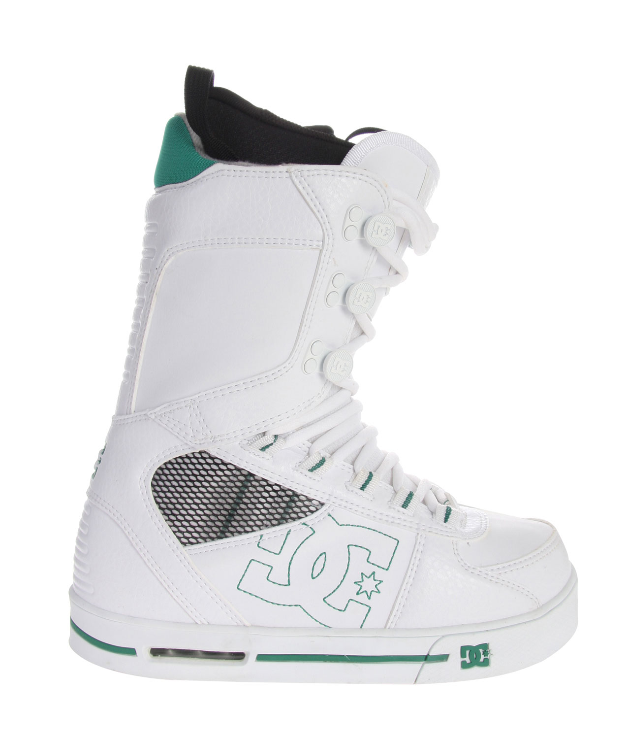 "Snowboard The Park boot caters directly to the unique need of those who hit the park on the regular. It also brings DC's innovative Performance Wrap Cup Sole, originally created for the skate shoe line, but plenty of cushion thanks in part to a visible airbag in the heel.Key Features of the DC Park Youth Snowboard Boots: Water Resistant Synthetic Leather Upper & PU Coated Mesh Traditional Lace Ergonomically Engineered 3D Tongue Articulated Upper Cuffs Patented Performance Wrap Cup Sole with Air Multi Tone Bottom with DC's Trademark ""Pill"" Pattern Flex: 6 Functional Sole Design - $119.95"