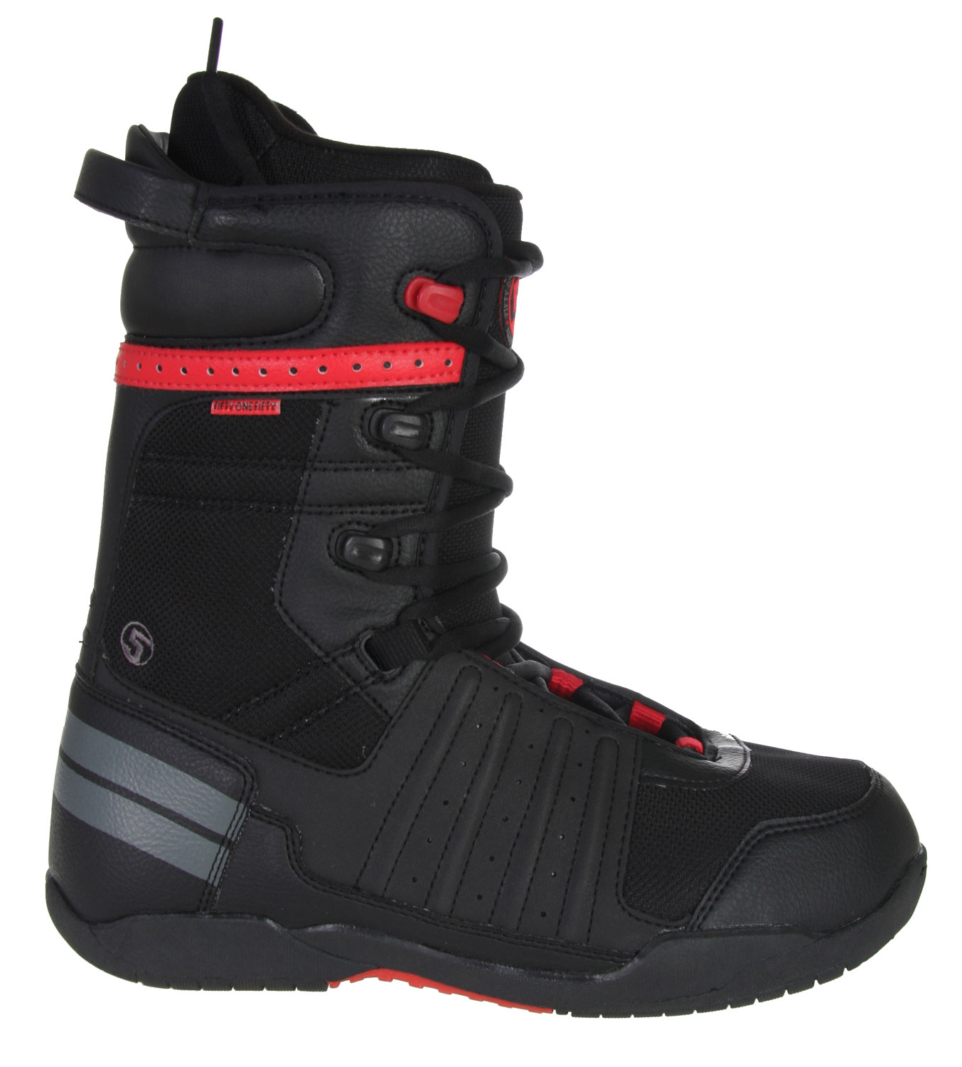 Snowboard You'd pay double for snowboard boots this good, but you don't have to! The Path CTS outsole provides cushion and traction, while the Powerfit liner features ergonomic warmth and support to keep your feet comfortable all day. Designed for all-mountain riding. The 5150 Squadron snowboard boots.Key Features of The 5150 Squadron Snowboard Boots: Path CTS Outsole with durable Rubber for a grip that won't slip PowerFit Liner with Lace Lock and Removable Insole Fitted Ankle Pocket with heel hold pads Rugged Waterproof Synthetic Leather Body Construction Webbing Lace Loops with Speed Hooks for easy lacing Multi-Zone Ankle Flex Points - $77.95