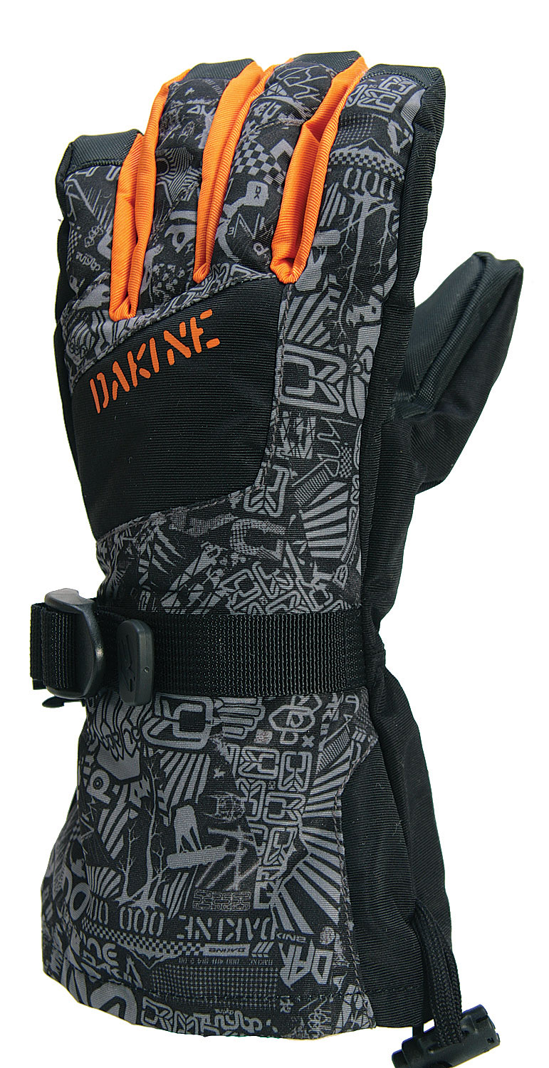 Snowboard Key Features of The Dakine Yukon Jr Gloves: Thermoloft Insulation Glove - [4/8oz] Rubber Tec Palm Weathershield Shell Fabric Kid's Specific Design Pre Curved Finger Construction RollBack Finger Design Full Length Over the Cuff Gauntlet Fixed Tricot Lining One Handed Cinch Gauntlet Closure - $11.95