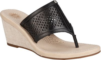 Surf The style of the UGG Solena Sandals will make you look as if you just came back from an exotic vacation. Leather uppers with laser-cut details offer a sophisticated, feminine charm. Soft, linen-wrapped midsoles let you dash from the boardwalk to fine dining. Imported.Heel height: 2-1/2.Womens sizes: 6-10 medium width. Half sizes to 10.Colors: Black, Chocolate. Type: Wedge Sandals. Size: 8 1/2. Shoe Width: BLACK. Color: Medium. Size 8 1/2. Color Black. Width Medium. - $69.88