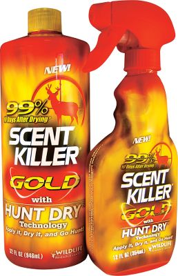 Hunting Scent Killer Gold clothing spray enhanced with Hunt Dry technology is formulated for maximum performance after it dries so you dont have to hunt in wet clothing. Long-lasting Scent Killer Gold clothing spray works when wet or dry and is effective for multiple days after application. Blend of advanced odor-fighting ingredients attack a wide range of odors. Tested to be 99% effective at stopping odor 10 days after drying. Combo includes: 32-oz. refiller bottle and filled 12-oz. field bottle. Color: Gold. - $20.88