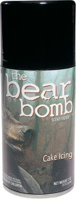 Hunting Bear Bomb Cake Icing scent has no nutritional value, so its not considered bait. Its effective when used with or without bait, and attracts bears from far away with an irresistable cake icing aroma. As the scent drifts, it sticks to everything it comes in contact with, leaving a natural scent trail back to the source. Size: 5-oz. aerosol can. Color: Natural. - $8.49