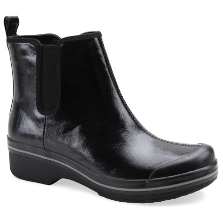 Entertainment The women's Dansko Vail boots keep your feet fully protected from wet weather while keeping up a stylish appearance that's equally at home at the office or the dog park. - $59.73