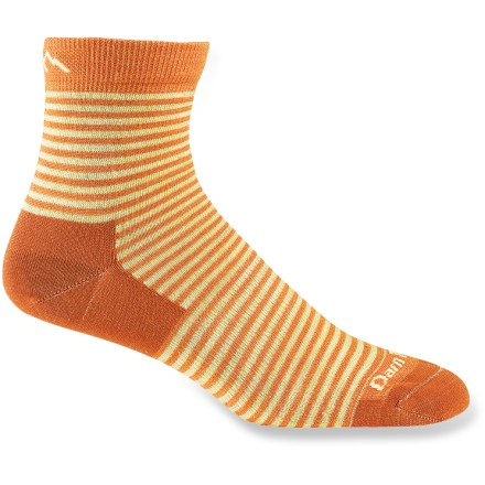 Fitness Every day is an adventure, so treat your feet to the comfortable and durable Darn Tough Mini Stripe Shorty Light women's socks. Merino wool wicks away moisture and breathes to regulate temperature for outstanding comfort in a variety of conditions. Undetectable toe seams eliminate uncomfortable rubbing to ensure excellent comfort for miles and miles. Shorty height hits just above the ankle. Reinforced heels and toes; spandex support around the arch. Darn Tough recommends that you machine wash socks inside out in warm water on gentle cycle and tumble dry on low. Closeout. - $9.73