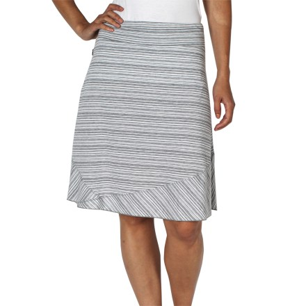 Be cute and comfortable in the ExOfficio Go-To Stripe skirt. It's made with dri-release(R) fabric for soft, moisture-wicking comfort during your travels or around-town adventures. A stretchy technical knit fabric, dri-release(R) offers cottonlike softness yet helps keep you comfortable, dry and odor-free; it also resists wrinkling. Freshguard(R) treatment embedded in the yarn virtually eliminates odor and won't wash out. Hidden security pocket in right seam at waist. ExOfficio Go-To Stripe skirt offers a natural fit and feminine shaping with a slightly flared silhouette. - $44.93