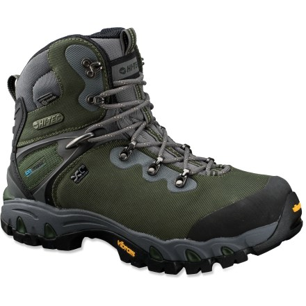 Camp and Hike The Hi-Tec Cascadia eVent(R) WPi waterproof hiking boots help keep feet dry and comfortable on all your backpacking trips and far-off treks. eVent membrane allows perspiration vapor to escape, but water from outside the boot is unable to penetrate. Waterproof nylon uppers are durable yet flexible. Textile linings pull moisture away from the foot and vaporize it to vent away, keeping the inside of the boot cool and dry. Polyurethane/EVA midsoles absorb shock, cushion feet and provide gentle support. Hi-Tec Cascadia eVent WPi hiking boots have thermoplastic bi-fit board shanks to provide torsional rigidity. Vibram(R) rubber outsoles deliver dependable gripping power on any hiking trail. Closeout. - $129.73