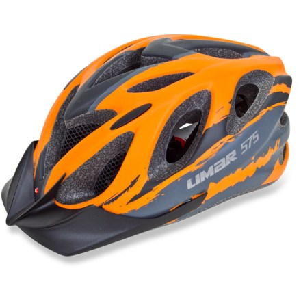 Fitness The lightweight and vented Limar 575 mountain bike helmet protects against impact while remaining comfortable enough for all-day play on the trails. 17 vents provide generous ventilation so you don't overheat while you're scorching up the trail; forward vents contain mesh netting to keep bugs out of your hair. In-mold technology fuses the liner to the microshell to create an exceptionally strong yet lightweight structure. Bi-directional, dial-fit system provides a secure, customized fit from front to back as well as side to side for maximum protection. Limar 575 mountain bike helmet features removable, machine-washable pads for moisture-wicking, antimicrobial performance. Removable visor shades face from sun and rain. Overstock. - $49.93