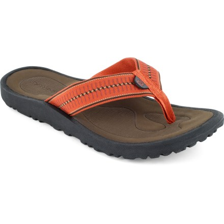 Fitness With padding and arch support to keep your feet comfortable all day long, the Rafters Gust Zip Up mens' flip-flops perform above and beyond your standard, run-of-the-mill flip-flops. Sturdy synthetic straps gently wrap insteps for a secure fit. Thick, soft EVA topsoles and midsoles cushion feet and deliver arch support for all-day comfort. Rubber outsoles provide traction on a variety of surfaces. Special buy. - $10.73