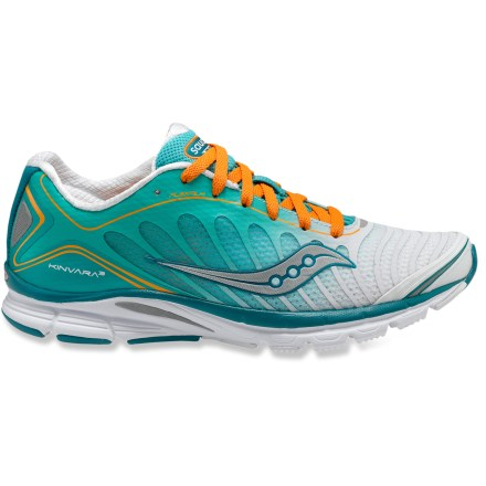 Fitness With a minimalist design, the Saucony Kinvara 3 road-running shoes offer a responsive ride that enhances your natural stride while providing support and cushioning. Updated minimal uppers feature a highly breathable design with thin nylon mesh and bonded thermoplastic urethane overlays that supply structure and support. Nylon linings quickly wick away moisture to keep your feet cool and dry. Memory foam around the heels delivers high levels of comfort and maintains a snug fit. 4mm heel-to-toe drop offers a responsive fit that keeps your feet feeling connected to the ground (measurement excludes strobel boards and sockliners). Cushioning system in heels works in tandem with lightweight EVA midsoles to maximize cushioning and enhance efficiency and response. Outsoles on the Saucony Kinvara 3 running shoes feature low-profile triangular lugs and strategic use of different rubbers for excellent traction and grip. Closeout. - $37.73
