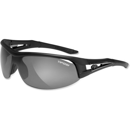 Camp and Hike The sporty Tifosi Altar interchangeable sunglasses give you 3 lens options so you can find just the right level of light transmission for hiking on sunny days or biking with overcast skies. Frame includes 3 sets of lenses that accommodate bright light, low-medium light and nighttime. The Smoke lens is great for everyday activities when the sun is high and the sky is blue. Use the Extreme Contrast (EC) lens to increase light contrast so you can spot subtle breaks on a putting green or your desired line down a single-track mountain bike trail. The Golf & Tennis (GT) lens is designed to enhance your ability to pick up a ball in flight by balancing target and background brightness. Lightweight and virtually shatterproof, polycarbonate lenses are 20 times more impact resistant than glass and one-third the weight. Grilamid(R) TR90 lightweight nylon frames offer a consistent fit and flexibility in all temperatures and are extremely impact resistant. Hydrophilic rubber nosepiece and temple ends become tackier when wet for reliable grip during exercise and hot weather; ear pieces bend for a custom fit. Ventilated lenses increase airflow to help eliminate fogging; lenses block 100% of harmful UVA and UVB light. Tifosi Altar interchangeable sunglasses fit small to large faces. Semirigid carrying case and cleaning cloth included. Overstock. - $39.73