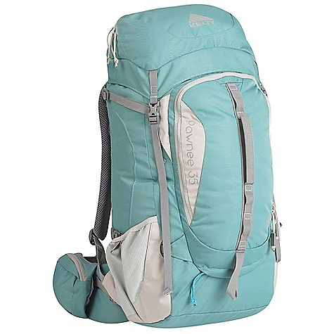Camp and Hike Free Shipping. Kelty Women's Pawnee 35 Pack DECENT FEATURES of the Kelty Women's Pawnee 35 Pack Top loading Side access into pack Hydration compatible Pack cover included Ice-axe loop Daisy chain Hipbelt pocket Large front pocket with organization Key fob LightBeam single aluminum stay Dynamic AirFlow back panel AirMesh shoulder straps, waist belt, and lumbar Dual density foam waist belt Hipbelt stabilizer straps Scherer Cinch (US Pat#5,465,886) Padded shoulder straps Load-lifter/stabilizer straps The SPECS Volume: 2100 cubic inches / 35 liter Weight: 2 lbs 15 oz / 1.3 kg Dimension: 25 x 11 x 10in. / 64 x 28 x 25 cm Torso Fit Range: 14.5 - 18.5in. / 37 - 47 cm Suspenstion: Lightbeam Fixed Suspension System Body: 420D Polyester Ball Shadow Reinforcement: 450D Polyester Oxford - $139.95