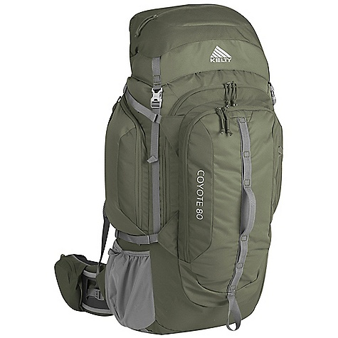 Free Shipping. Kelty Coyote 80 Pack DECENT FEATURES of the Kelty Coyote 80 Pack Top loading Front-panel access Lid converts into lumbar pack Hydration compatible Ice-axe loop Daisy chain Zippered side pockets Hipbelt pockets Large front pocket with organization LightBeam dual aluminum stays Dynamic AirFlow back panel AirMesh shoulder straps, waist belt, and lumbar HDPE reinforced waist belt Hipbelt stabilizer straps Scherer Cinch (US Pat#5,465,886) Padded shoulder straps Load-lifter/stabilizer straps Sternum strap The SPECS Torso Fit Range: 14.5 - 18.5in. / 37 - 47 cm Volume: 4700 cubic inches / 77 liter Weight: 5 lbs 3 oz / 2.3 kg Length: 30in. / 76 cm Width: 13in. / 33 cm Depth: 12in. / 30 cm Body Fabric: 420D Polyester Ball Shadow Reinforcement Fabric: 420D Polyester Oxford Suspension: CloudLock II Adjustable Suspension - $199.95