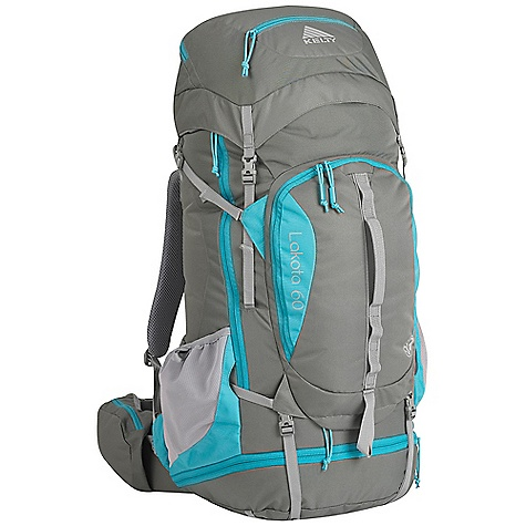 Camp and Hike Free Shipping. Kelty Women's Lakota 60 Pack DECENT FEATURES of the Kelty Women's Lakota 60 Pack Top loading Sleeping bag compartment Side access into pack Hydration compatible Lower compression and pad straps Pack cover included Ice-axe loop Hipbelt pocket Large front pocket with organization LightBeam single aluminum stay Dynamic AirFlow back panel AirMesh shoulder straps, waist belt, and lumbar Dual density foam waist belt Hipbelt stabilizer straps Scherer Cinch (US Pat#5,465,886) Padded shoulder straps Load-lifter/stabilizer straps Sternum strap The SPECS Volume: 3700 cubic inches / 61 liter Weight: 3 lbs 8 oz / 1.6 kg Dimension: 29 x 11 x 12in. / 74 x 28 x 30 cm Torso Fit Range: 14.5 - 18.5in. / 37 - 47 cm Suspenstion: Lightbeam Fixed Suspension System Body: 420D Polyester Ball Shadow Reinforcement: 450D Polyester Oxford - $179.95