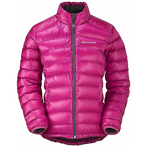 Climbing Free Shipping. Montane Women's Nitro Jacket DECENT FEATURES of the Montane Women's Nitro Jacket Free Flow Titanium outer shell. Super lightweight 100% Nylon mini rip-stop with a 300mm hydrostatic head and lightweight 34g/m2 DWR finish Exceptionally high quality goose down with 800+ fill power Articulated arms for reach high movement and tailored specifically to reduce hem lift Body contoured midi baffle stitch through construction Down fill both in front of and behind the hand-warmer pockets. Both featuring storm flaps Inner mesh security pocket for storage of handy essentials Full length, reversed and baffled YKK front zip for ease of use with a backpack or climbing harness Low bulk and profile elasticated cuffs which can be pulled up forearms to aid cooling Adjustable hem to prevent spindrift entry and heat loss Includes Free Flow Titanium Montane stuff sac perfect for storage on the move The SPECS Weight: 11.6 oz / 330 g Activities: Lightweight Mountaineering / Fast Alpine / Mountain Walking / Trekking / Travel Fit: Active Mountain Fabric: Free Flow Titanium Filling: 130g (UK 10) of 93/7 goose down at 800+ fill (USA) Lining: Ultra soft PEAQ Down This product can only be shipped within the United States. Please don't hate us. - $238.95