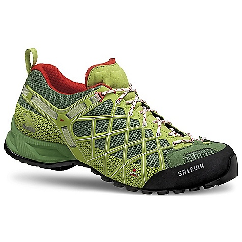 Climbing Free Shipping. Salewa Men's Wildfire Shoe DECENT FEATURES of the Salewa Men's Wildfire Shoe Multi Fit Footbed allows an individual adjustment of the fit Climbing Lacing provides more accurate lacing in the toe area gives more support and performance Salewa 3F System offers an unbeatable combination of ankle flexibility, lateral support, and perfection in fit Upper: Microfiber Forefoot; Ballistic Mesh; Exa Shield Over Injected 3D Cage Lining: Mesh Outsole: Vibram Tech Approach EVO The SPECS Weight: 390 g (size 9) - $128.95