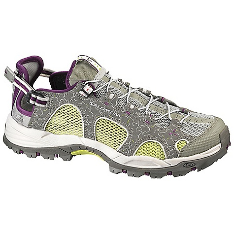 Camp and Hike Free Shipping. Salomon Women's Techamphibian 3 Shoe DECENT FEATURES of the Salomon Women's Techamphibian 3 Shoe Quick drying breathable mesh Anti debris mesh Breathable open mesh Lace pocket Eva molded form Breakaway lace system Quicklace is a minimalistic and strong lace for one-pull tightning Patented convertible heel Adjustable heel strap Internal sensifit Textile Neoprene lycra Non-marking contragrip Molded EVA Drainage ports Die cut EVA - $94.95