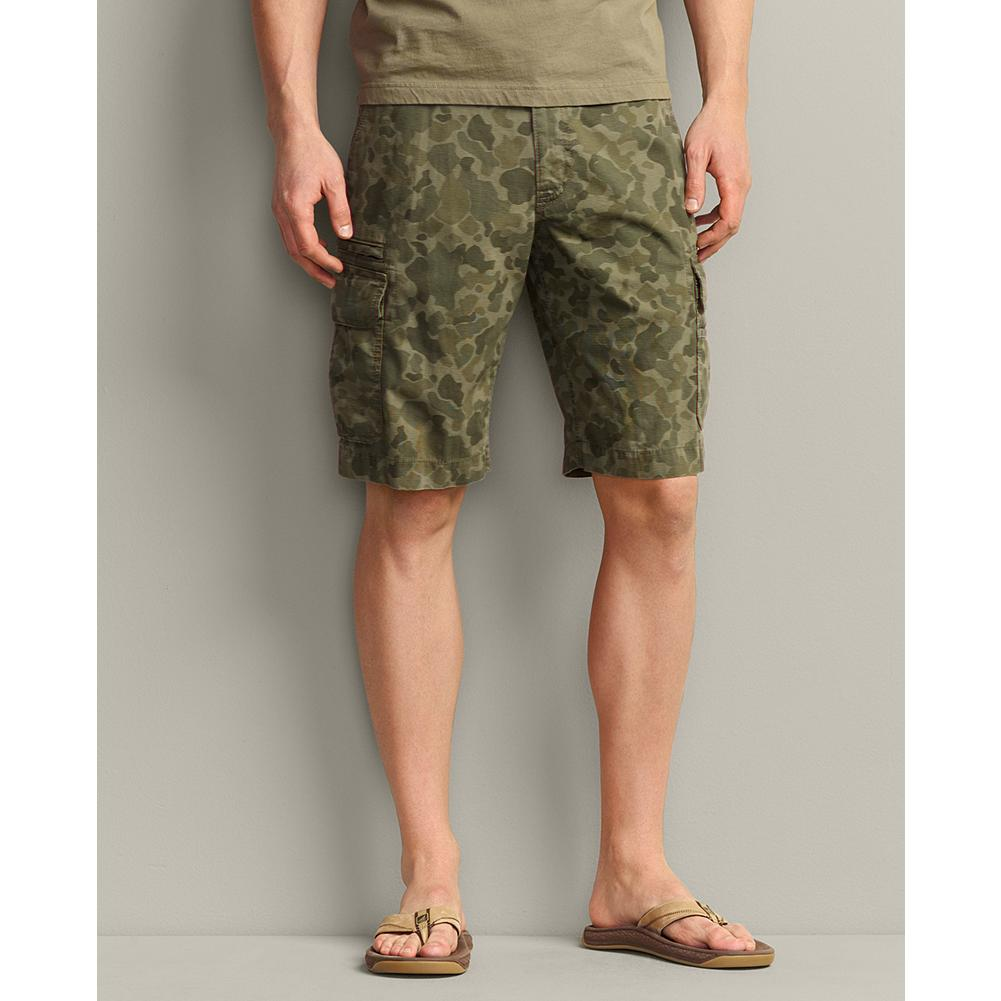 Fitness Eddie Bauer Versatrex Cargo Shorts - Camouflage Print - 100% cotton and our non-tearing, durable ripstop, these easy-going cargo shorts are the perfect choice for summer fun. Roomy snap-closure cargo and back pockets safely stash tickets, maps, and other essentials, while a reinforced drop-in pocket keeps your cell phone or iPod close at hand. - $29.99